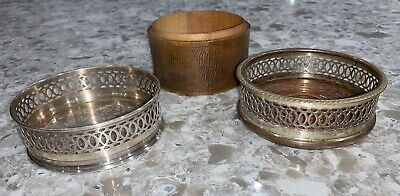 Vintage Wine Coasters Silver Plated Metal Wood Carved Old Antique Style