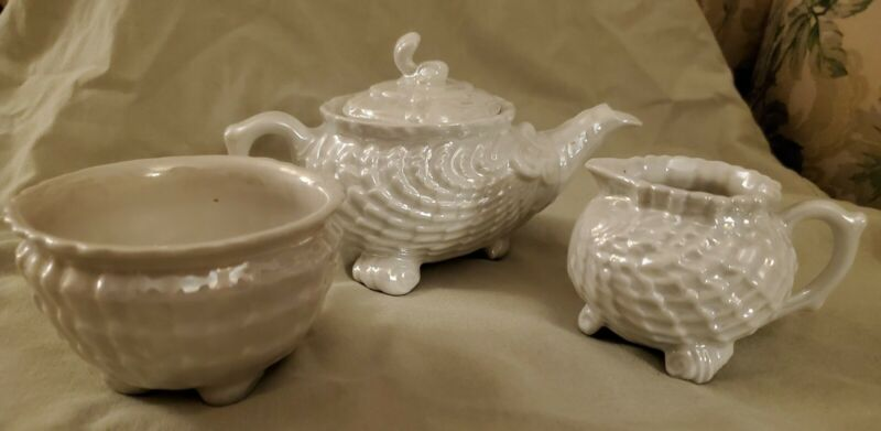 Vintage Victoria Czech Luster Sea Shell Teapot, Creamer And Sugar Bowl