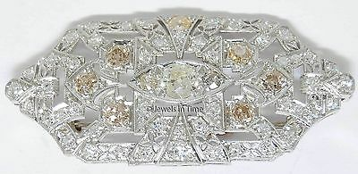 Vintage Brooch Platinum & 3.08 CT Diamond Deco Pin