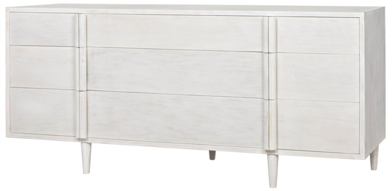 "72"" Long Dresser Solid Mahogany Wood 9 Drawers White Wash Modern Beautiful"