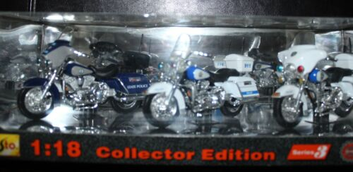 Maisto 3 Pack Series 3 Harley Davidson 1/18 Police Motorcycles ~ NEW IN BOX
