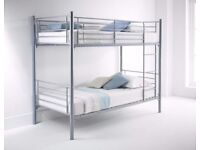 **14-DAY MONEY BACK GUARANTEE!** Single Metal Bunk Bed with Mattress - SAME DAY DELIVERY!