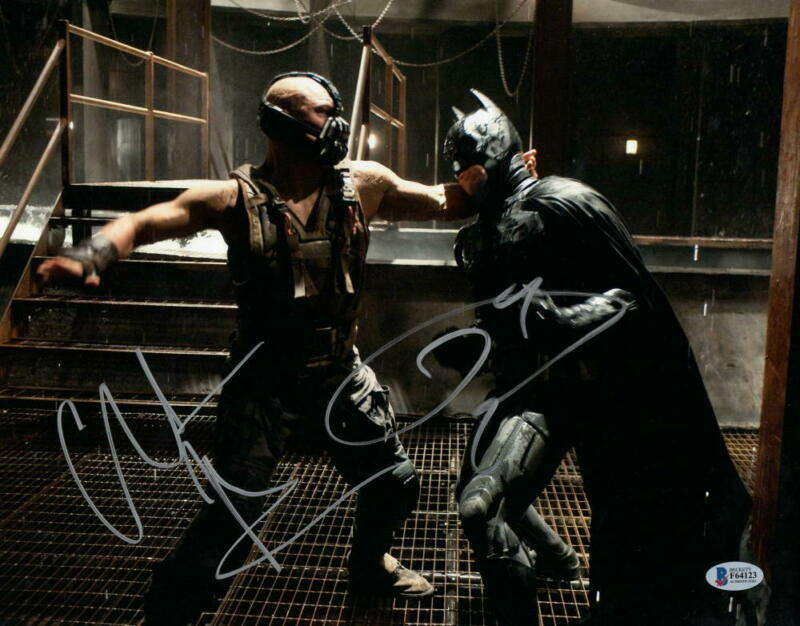 CHRISTIAN BALE TOM HARDY SIGNED 11X14 PHOTO THE DARK KNIGHT RISES BECKETT COA A