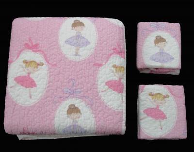 Ballerina Twin Quilt (Authentic Kids BALLERINA Twin or Full/Queen Pink Polka Reversible Quilt Set NIP )
