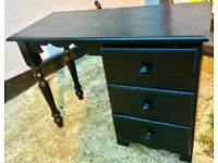 SHABBY CHIC STYLE BLACK WOODEN 3 DRAWER DESK - £40 QUICK SALE