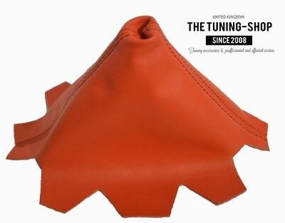The Tuning-Shop Ltd For VW Transporter T5 2003-2010 Manual Shift Boot Black Italian Leather Red Stitch