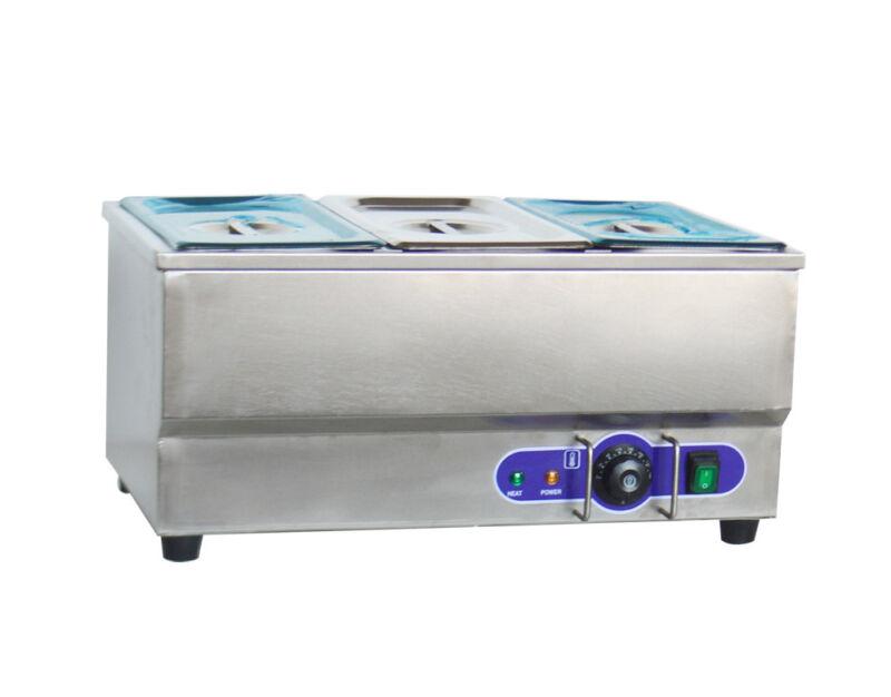 "3-Pot Electric Food Warmer Bain Marie Buffet Equipment Stainless Steel 6""Pan"