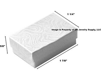 Lot Of 500 Small White Swirl Cotton Fill Jewelry Gift Boxes 1 78 X 1 14 X 58
