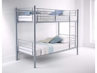 SILVER METAL BUNK BED HIGH QUALITY SINGLE 3FT CONVERT IN TO TWO SINGLE BEDS- FREE DELIVERY