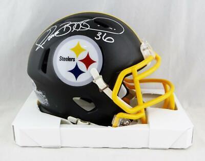 6a8dd578 Jerome Bettis Autographed Steelers Flat Black Mini Helmet - Beckett Auth  *Silver