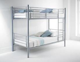 "EXCLUSIVE OFFER! FREE DELIVERY FOR ""SINGLE METAL BUNK BED"" FRAME AND MATTRESS"" AVAILABLE IN SILVER"