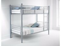 SPLITABLE Metal Bunk Bed In Silver White And Black Colour Single Bottom Single Top ORDER NOW !!