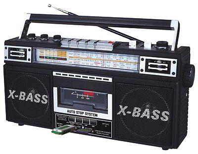QFX J-22U Retro Collection AM/FM/SW1/SW2 4-Band Radio +Cassette to MP3 Converter