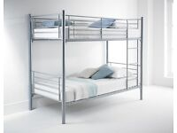 Same Day Delivery -- Single Metal Bunk Bed Frame + Mattresses -- Brand New