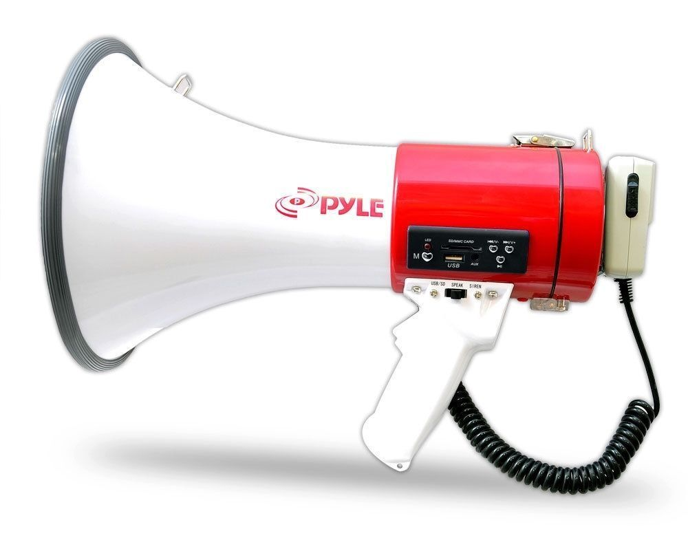 Pyle Megaphone 50-Watt Siren Bullhorn - Bullhorn Speaker w/
