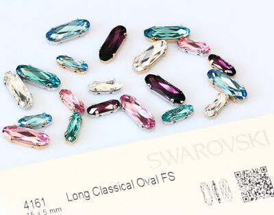 Genuine SWAROVSKI 4161 Long Classical Oval Crystals with Sew On Metal (Metal Beaded Beads Setting Crystal)