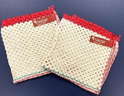 NWT Set of 2 Vintage Startex All Cotton Mesh Kitchen Dish Cloths 1940s Red Green