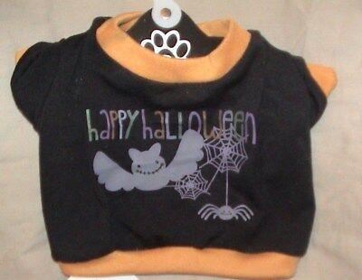 HAPPY HALLOWEEN PET SHIRT-ORANGE & BLACK-BAT*SPIDER & WEBS-SIZE - Happy Halloween Hunde Kostüm