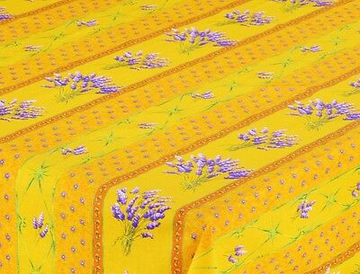 """LE CLUNY, LAVENDER YELLOW FRENCH PROVENCE COATED COTTON TABLECLOTH, 60""""  Solid"""