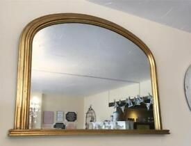 Decorative gold over-mantle mirror
