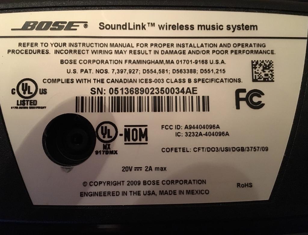 Bose Soundlink Wireless Speaker