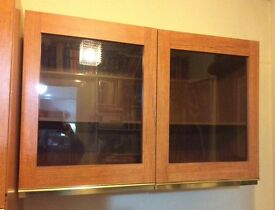 Schreiber wall storage unit with glass doors teak effect ideal study/home office excellent condition
