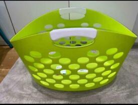 Flexible plastic apple lime green laundry basket
