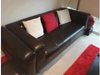 Black leather Ikea sofa for sale