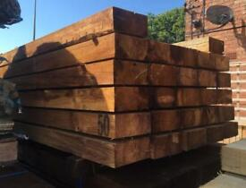 🌳WOODEN PRESSURE TREATED BROWN RAILWAY SLEEPERS ~ NEW