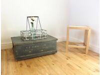 Vintage Painted Pine Storage Chest / Coffee Table / Blanket Box