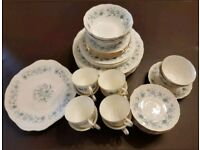 Vintage bone china crockery Colclough Blue Braganza set