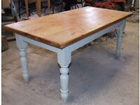 Farmhouse large victorian pine table,painted base,very good condition