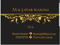 M.k 5 star waxing mobile in NW10 area. Also Im Qualified in waxing & Insured.