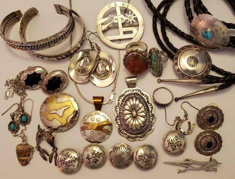 Huge Southwestern Sterling Silver Cowgirl Jewelry Lot
