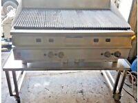 HEAVY DUTY COMMERCIAL FALCON CHAR GRILL 4 BURNER PERI PERI STEAK KEBAB WITH TABLE RESTAURANT