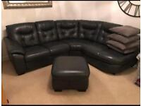 DFS Leather corner sofa and foot stool