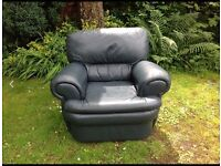 Soft leather armchair for sale, teal colour.