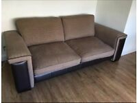 Brown fabric and faux leather 2 and 3 seater sofas