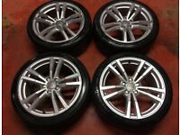 18'' GENUINE AUDI A3 S LINE 5 DOUBLE SPOKE SPORTBACK SALOON ALLOY WHEELS TYRES ALLOYS 5X112 CADDY