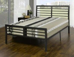 METAL BED FRAME QUEEN | ALSO AVAILABLE - LOW PLATFORM BED WITH LIGHTS, MODERN COOL LOOKING LEATHER BED (IF99)