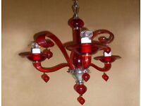 R V ASTLEY Red 3 Branch Vintage Chandelier