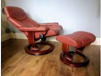 Retro Ekornes Stressless Leather Recliner Armchair & Footstall