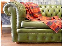 Stunning Real Leather Vintage Three Seater Chesterfield in Racing Green - WE CAN DELIVER