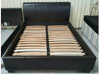 Leather king-size bed frame in vgc can arrange delivery