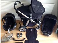EX COND ICANDY Apple Pushchair ++ Carrycot ++ Maxi Cosi Car Seat ++ Liner ++ extras