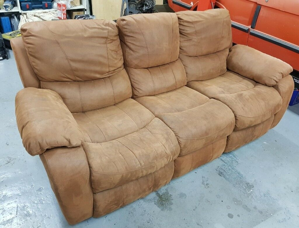 Three Seater Reclining Sofa Suede Effect In Ipswich