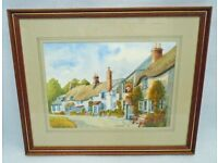ORIGINAL WATERCOLOUR PAINTING BY J STRANGE STOKENHAM SOUTH HAMS DEVON COTTAGES PUB