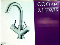 Cooke & Lewis Minima 2 Lever Basin Mixer Tap and Pop up waste