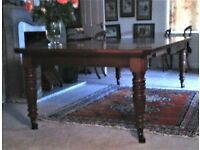 "VICTORIAN MAHOGANY 12 SEATER DINING TABLE 8' x 4' Reduces to 4'6"" x 4'"