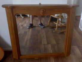 Light Oak Solid Wood Mirror